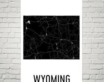 Wyoming Decor, Wyoming Art, Wyoming Map, Wyoming Wall Art, Wyoming Sign, Wyoming Print, Wyoming Gifts, Home, Decor, Poster, Map of Wyoming