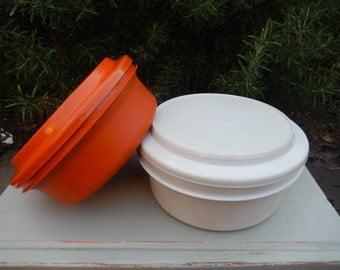 Vintage Two Trusty Tupperware Bowls, Retro Orange and Cream. Retro Kitchenalia, Camper Vans, Picnics, Summer Parties