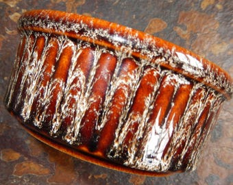 Cornish Cook Ware, Fosters Cottage, c 1970s Cook Ware, Brown and Cream Drip Ware Ribbed Dish, Treacle Glazed Stoneware Pot