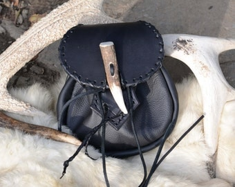 Black leather forest pouch with antler closure