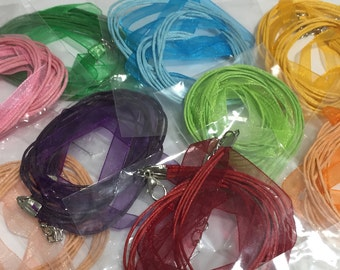 Organza cord necklace, different colours available, 18 in / 45 cm long with 2 in / 5 cm extension