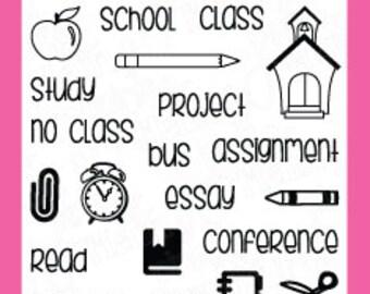 School Planner Stamps - Pink & Main - Planner School