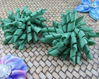 Korker Bow Hair Clip - Set of 2 - Dark Greens
