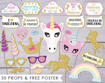 Unicorn Party, Photo Booth Props, Unicorn Birthday, Unicorn Photobooth Props, Unicorn Photo Props, Photo Booth Poster, Unicorn Baby Shower,