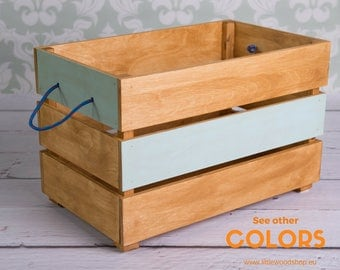 Wood Toy Box on Wheels, Case for Toys, Toy Chest, Coffer, Nursery Storage, Kids Furniture, Baby's Room Organizer COLORS
