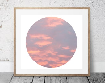 Nature Photography, Pink Clouds, Sky, Sunrise Photo, Digital Download, Circle Art