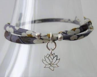 Yoga bracelet, lotus bracelet, lotus flower, Liberty fabric, yoga jewellery, namaste, gift for her