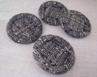 Set of 4 Vintage Blue White Fabric Over Metal Coat Buttons