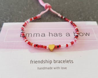 Dainty girl bracelet * heart * from Miyuki beads in pink and red tones