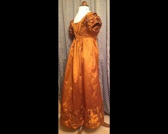 Made to measure regency gown, jane Austen dress, evening colonial dress, napoleonic dress, bridal satin dupion fabric