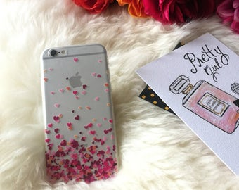 iPhone 7 Case DARCIA, Pink Heart iPhone 6s Case, Hearts Phone Cover Top Selling Gift for Her, iPhone 6 6s, Plus Clear Rubber Silicone Case