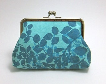 Light Blue hand-made, 100% cotton fabric clip purse, metal clasp purse, coin purse, with a two-colour blue hand-printed floral pattern