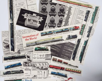 Railways and Trains, Locomotive Paper Ephemera Pack. Vintage 1950s and 1960s paper for scrapbooking and journaling