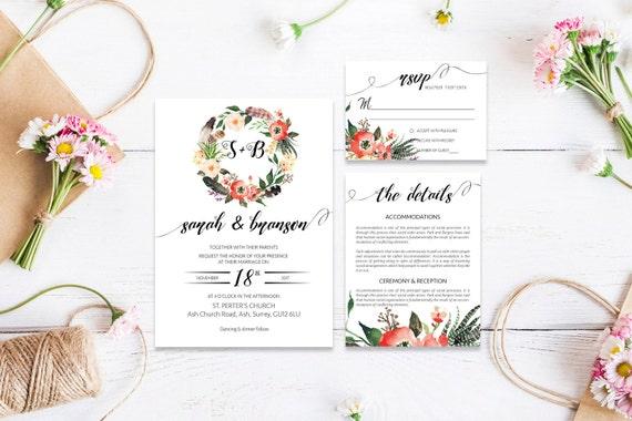 Flower wedding invite_10,Printable Wedding Invitation Suite,Wedding Invite Set,Wedding Printable,Calligraphy