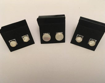 6mm Mother of Pearl Cabouchon Studs