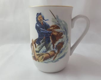 "SALE Norman Rockwell ""Braving The Storm"" Coffee Mug, Museum Collection, circa 1986"