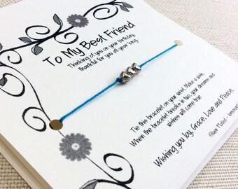 Best Friend Birthday Gift Best Friend Wish Bracelet Birthday Gift Best Friend Best Friend Birthday Card  Best Friend Bracelet Friendship BD