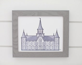 Provo City Center Temple Grayscale Drawing