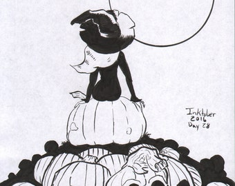 Inktober Day 28 A Witch on a Pumpkin (Halloween)