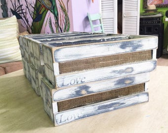 Set of 12 Distressed Rustic Centerpieces Boxes