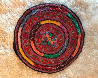 Round Colorful Embroidered Ethnic Vintage Textile