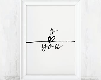 I Love You, Printable Art, Heart Print, Love Print, Love Wall Art, Love Poster, Love Printable, Love Art, Love Art Print, Love Gift, Heart