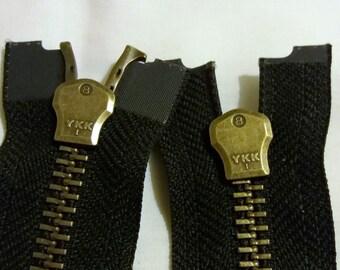 Zipper. Antique Brass no 8 heavy duty zip. Black. 61 cm long.