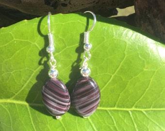 Purple and Black Earrings, Czech Glass Earrings, Dangle Earrings, Glass Earrings, Silver Beaded Drop Earrings, Czech Earrings, Gift for Her