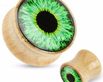 "Pair Bamboo Evil Eye Protection Ear Plug Wooden Gauges Earrings 0ga (8mm), 00ga 10mm, 1/2"" (12mm)"