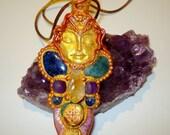 Crystal healing amulet shamanic quartz, green quartz, citrine, pyrite, sodalite, lapislazuli, pink agate, aquamarine pendant