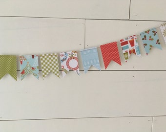 Christmas Banner, Christmas Bunting, Holiday Banner, Holiday Bunting, Flag Banner, Flag Bunting, Paper Banner, Paper Bunting, Photo Prop
