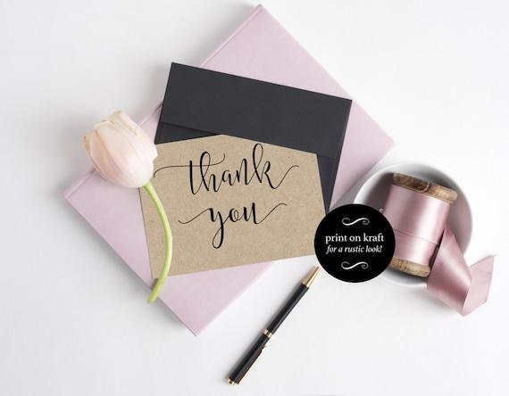 Wedding Thank You Cards - Wedding Printable - Thank You Template - Print on kraft  - Kraft Printable - Downloadable wedding #WDH0141