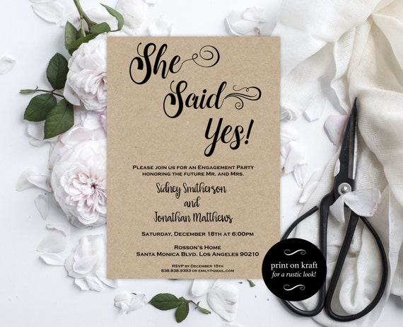 Engagement Party Invitation - Engagement Invite - She Said Yes invitation - Rustic Engagement Invitation Downloadable Wedding #WDH0214