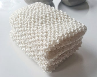 Set of two white cotton knitted cloths, wash cloths, dish cloths, natural cloths, white dish cloths, natural materials, hand made dishcloths