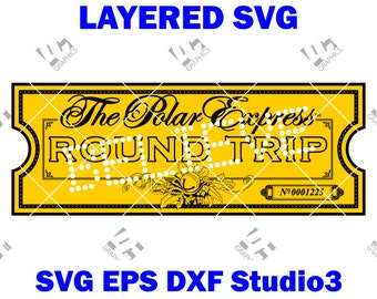 The Polar Express Ticket - Believe - Cutting File SVG, EPS, DXF, and Studio3 - Cricut, Silhouette Cameo Studio Make The Cut Instant Download