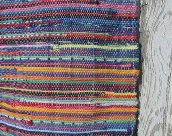 "Mom's Scrap Basket Rag Rug- 42""x27"" Multicolored Woven Rug-woven rag rug-blue rainbow rug-t shirt rug-blue woven rug-kitchen rug-throw rug"