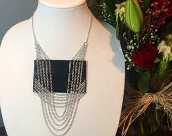 Upcycled Vinyl Record and Chain Necklace Eco Friendly