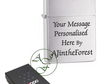 Personalised Laser Engraved Brushed Chrome Zippo Cigarette Lighter Black Bold Text
