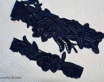 Dark Blue Wedding Garter Set, Unique Bridal Garter, Blue Garter, Lace Bridal Garter, Bridal Garter, Garter Set, Something Blue, Toss Garter