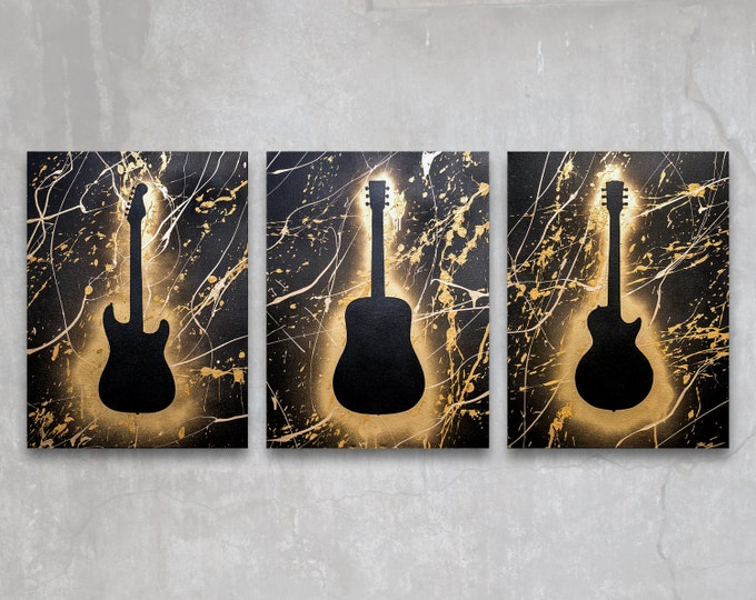 guitar // custom original paintings // modern triptych // music art // guitar painting // metallic large wall art // gold guitar silhouette