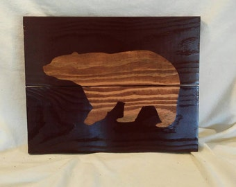 Bear silhouette wood wall plaque