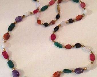 Multi-colored polished gemstone necklace