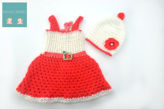 Crochet Baby Dress, Christmas Baby frock set, Red frock set, Infant Girl Clothes,Baby Girl Apparel, Frock, Baby cap, red and white dress