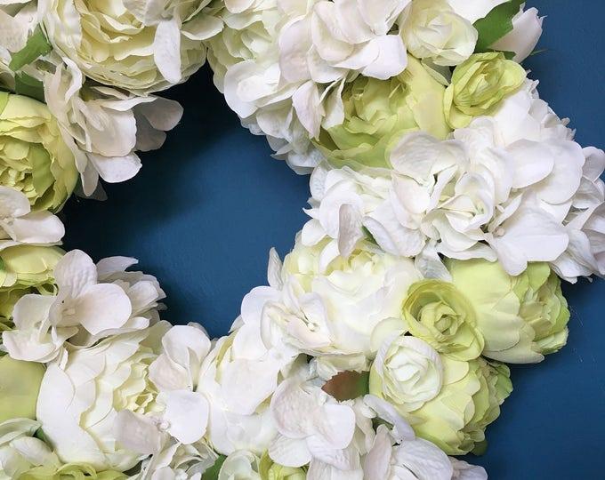 Beautiful white and lime peony hydrangea door wreath