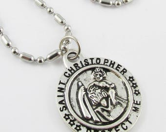 Saint Christopher Protect Me Charm Necklace 50cm Stainless Steel Silver or Gold