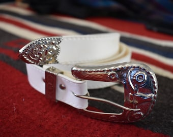 White Faux Leather Belt Bull Head and Flowers Metal Buckle
