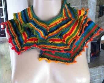Spiralschal, hand knitted, fine wool