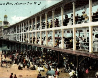 c.1910 ATLANTIC CITY, New Jersey, Steel Pier, Postally Unused Real Photo Hand Colored PC, Near Mint condition