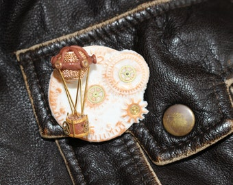 Steampunk brooch Airship pin Steampunk jewelry