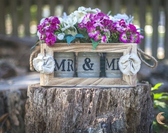 Beautiful Rustic Wooden Gift Box embellished with Burlap Rosettes